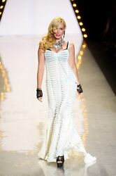 Betsey Johnson And039ruffle And Twinkleand039 Cream Maxi Dress Sz S - Rare And Gorgeous Nwt