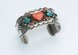 Vintage American Indian Engraved Sterling Silver Coral Turquoise Cuff Bracelet