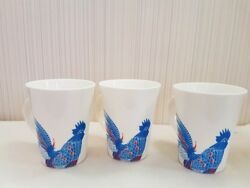 Lot 3 Vintage Rooster Chicken Hen Coffee Cup Mug White Ceramic Hand Painted