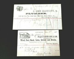 1884 And 1889 Antique Receipts Wood, Coal Sand And Lead, Iron And Pipe Plumber