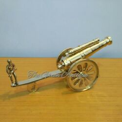 Brass Double Barrel Cannon Beautiful Home Decorative Gift Item