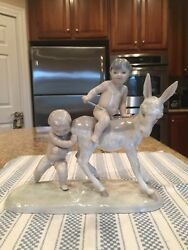 Lladro 0126 Children With Donkey - Perfect Condition - Extremely Rare