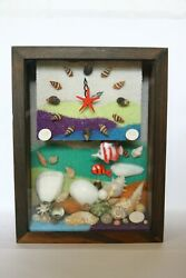 Wooden Wall Pendulum Clock Beach amp; Sea Shell Display with Natural Decorations.