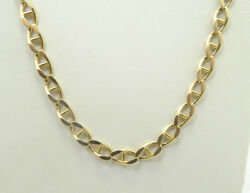 14k Yellow Gold Diamond Cut Mariner Anchor Link Chain Necklace 20 In 17.7g D699