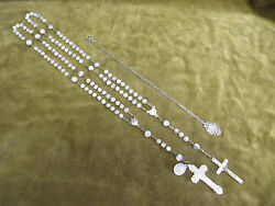 1900 French Mother-of-pearl And Silver 2 Rosaries And 800 Silver Religious Medal