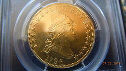 1796 DRAPED BUST 10.00 GOLD SMALL EAGLE PCGS AU DETAILS VERY RARE 4146 MINTED