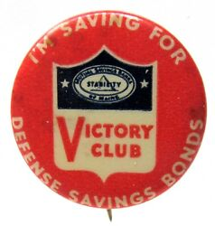 Wwii Maine Mutual Victory Club Defense Savings Bonds Pinback Button Home Front