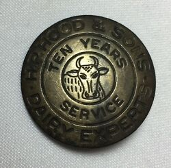 Vintage H.p. Hood And Sons Medal Pin 10 Years Service Award Cow Dairy Milk C. 1940