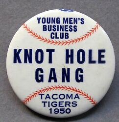 And03950 Tacoma Tigers Knot Hole Gang Wil Western Intl League Baseball Pinback Button