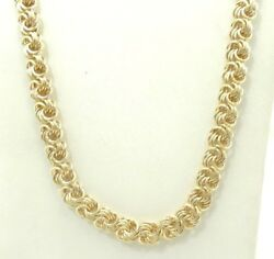 14k Yellow Gold Heavy Spiral Link Chain Necklace 25 Inch 39.7grams D3582