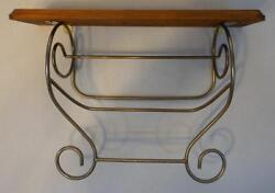 Home Interiors Wood And Gold Tone Metal Wall Shelf With Towel Bar