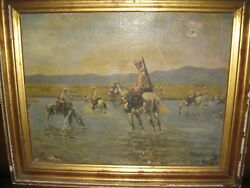 Imperial Russian Army Painting Oil On Canvas Unknown Artist Original 1906