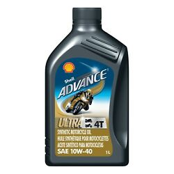 Shell Advance 4t Ultra 10w-40 Synthetic Motorcycle Oil,1 Liter Pk Of 4