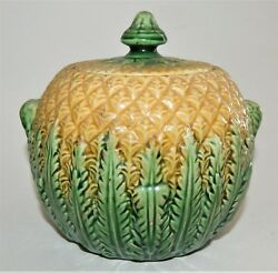 Antique Majolica Pineapple Pattern Covered Sugar Bowl 1800's Yellow Green