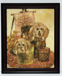 Cute Terrier Dogs Puppies Scene 16 x 20 Oil Painting on Canvas w Custom Frame