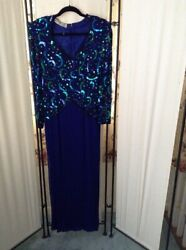 Vintage Scala Beaded Sequins Evening Weddings Gown Blue Multi Color Dress Small $59.55