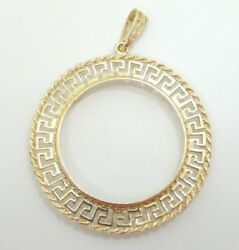 14k Yellow Gold Wide Greek Key Rope Border 33mm Coin Holder Pendant D4194