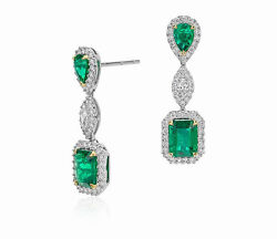 New Design Solid 18kt 2 Tone Gold Natural Gorgeous Green Emerald Diamond Earring