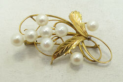 14K Yellow Gold Pearl Cluster Floral Brooch Pin 7.3g A5106