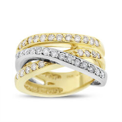 1.05 Carat Guild Diamond Crossover Fashion Ring Solid 14k Two-tone Gold