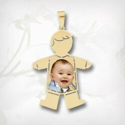 14k Gold Baby Boy Custom Photo Picture Pendant Necklace Charm Gift For Her
