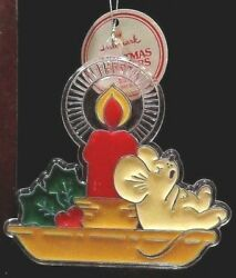 Hallmark 1981 Christmas Tree Trimmers Acrylic Candle w Mouse Ornament 3.5
