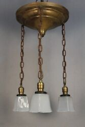 Antique Arts And Crafts Chandelier W/ Three Pendants And Glass Shades 1910 11736