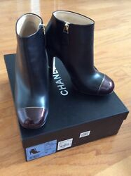 Short Boots Black Leather Burgundy Patent Tips Side Zipper Size 36