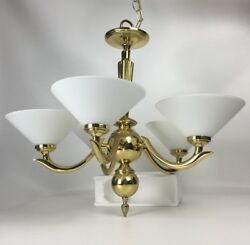 5 Arm Polished Brass Chandelier Mouth Blown Vianne French Milk Glass Shades 24