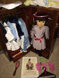 American Girl Doll Samantha LN Retired Wood Case Multiple Outfits early 2000s $625.00