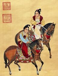 Antique Chinese Color Painting Noble Girls On Horses