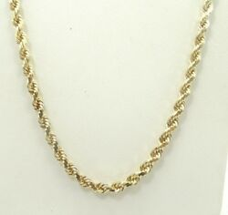 14k Yellow Gold Diamond Cut Rope Chain Necklace 20 22.8g A9713