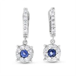1.08 Ct. Natural Diamond And Tanzanite Halo Drop Dangling Earrings In Solid 14k Wh