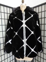 Brand New Black Sheared Beaver Fur And White Leather Coat Jacket Men Man Size All