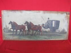 Antique Breadboard Large Folk Art Horse And Carraige Country Primitive Painting