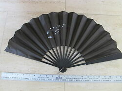 22 Inch Antique Ladies Black Formal Hand Painted Cloth Folding Hand Fan Funeral