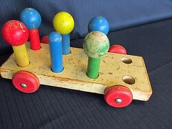 Vintage Playskool Wooden Pull Toy Wooden Wagon People Wheels Parts Learning Toy