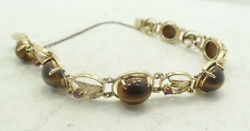 Stunning 14K Y Gold Cabochon Quartz Ruby Diamond Cut Link Bracelet 6.5