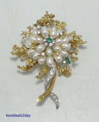 VINTAGE ESTATE 18K FLOWER BROOCH PIN DIAMONDS PEARLS EMERALDS WW