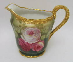 Antique Hp Limoges Theodore Haviland Roses Pitcher Early 1900s Signed Gaston