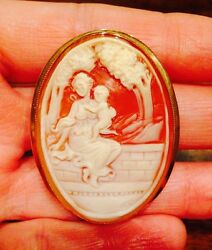 Rare Large Signed Front And Back Carved Cameo Pendant Brooch Pin 14k Gold Italian