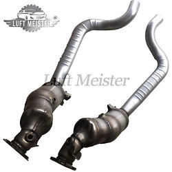 Pair Front Catalytic Converters For Porsche Panamera 4.8l V8 2010-2014 W/o Turbo