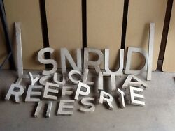 Lot Of 28 Vintage 7 And 12 Tall 1 Thick Heavy Aluminum Letters - Very Good