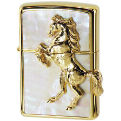 Zippo Shell Plate Winning Whinny Horse Metal Gold Plating White Japan Limited