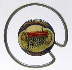 1896 Bickford And Huffman Farm Implement Macedon Ny Pinback Button Celluloid Clip