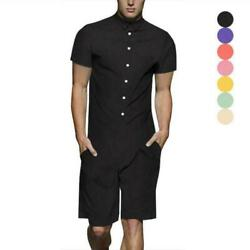 Menand039s Summer T-shirts Pants Shorts Sleeve One Piece Dress Suit Slim Fit Casual