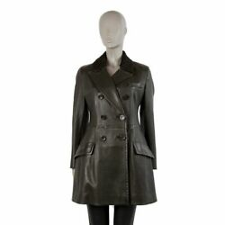 56378 Auth Prada Green Leather Fur Collar Double-breasted Coat Jacket 44 L