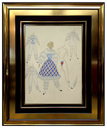 ERTE Original Gouache Painting Signed Art Deco Costume Romain de Tirtoff Bronze