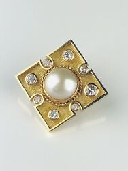 Large 14k Yellow Gold Mabe Pearl And Diamond .75tc Brooch/slide/enhancer
