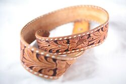 """Rare Vintage Ray Pohja Native American 41"""" Intricate Leather Belt With Buckle"""